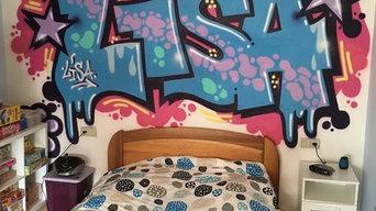 """Décoration """"prénom graffiti"""" pour la chambre de Lisa"""