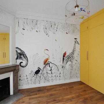 Un appartement haussmannien haut en couleur