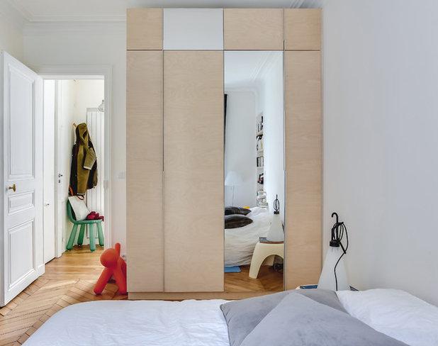 houzz tour gammel pariser lejlighed fik effektivt l ft med krydsfin r. Black Bedroom Furniture Sets. Home Design Ideas