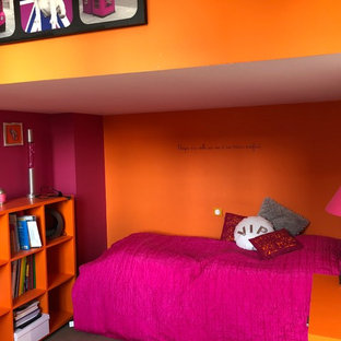 Pink Bedroom with Orange Walls