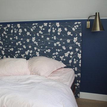 Chambre parentale - tête de lit fleurie