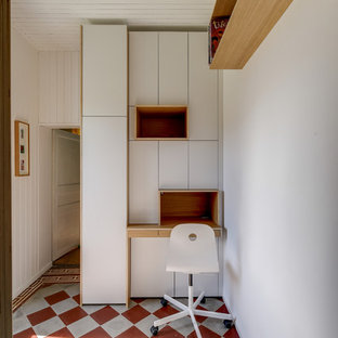 Inspiration for a large contemporary master ceramic floor and red floor bedroom remodel in Nantes with white walls