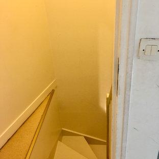 Modelo de dormitorio tipo loft, contemporáneo, grande, con paredes blancas, suelo laminado y suelo beige