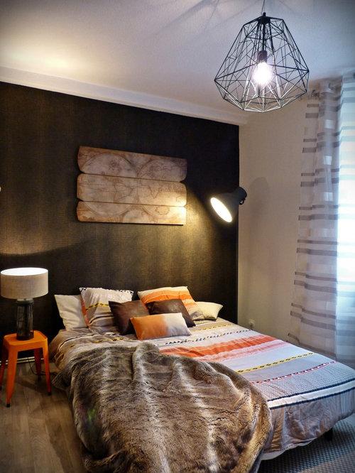 chambre adulte avec un mur marron photos et id es d co de chambres adultes. Black Bedroom Furniture Sets. Home Design Ideas