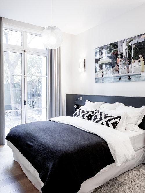 Chambre contemporaine avec un mur blanc : Photos et idées déco de ...