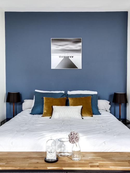 bedroom ideas blue. Bedroom photo in Paris Top 20 Blue Ideas  Remodeling Photos Houzz