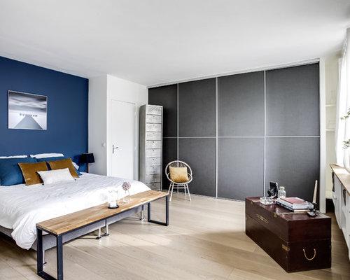 Chambre scandinave avec un mur bleu photos et id es d co for Renovation chambre adulte