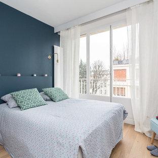 Chambre scandinave avec un mur bleu : Photos et idées déco de chambres
