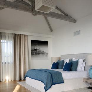Diseño de dormitorio principal, contemporáneo, grande, sin chimenea, con paredes blancas, suelo de linóleo y suelo marrón