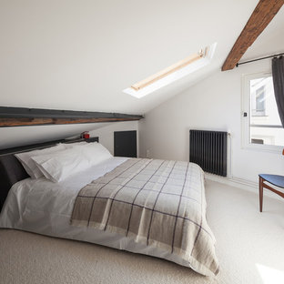 Photo of a mid-sized scandinavian loft-style bedroom in Paris with white walls, carpet, no fireplace and beige floor.