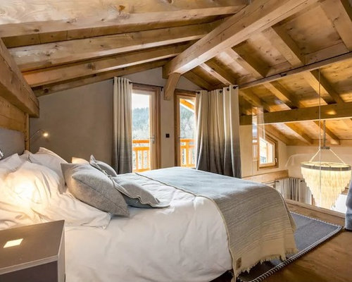 chambre mansard e ou avec mezzanine montagne photos et id es d co de chambres mansard es ou. Black Bedroom Furniture Sets. Home Design Ideas