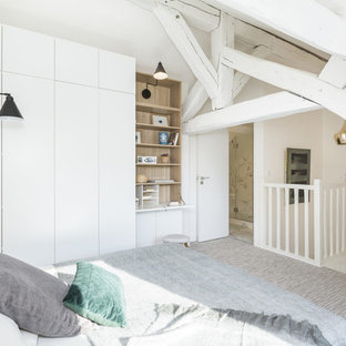 This is an example of a mid-sized scandinavian loft-style bedroom in Paris with white walls, carpet, grey floor and no fireplace.