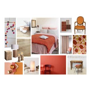 パリの大きい地中海スタイルのおしゃれな主寝室 (赤い壁、クッションフロア、ベージュの床)