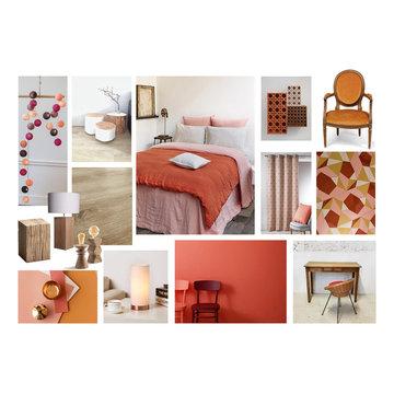 Chambre féminine chaleureuse et tonique
