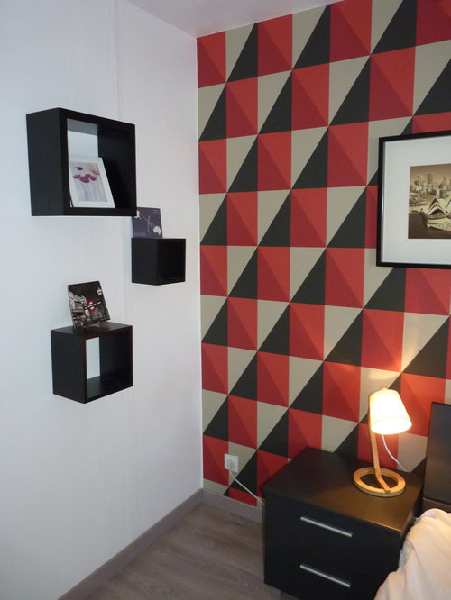 red bedroom design ideas renovations photos with plywood flooring