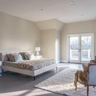 リヨンの大きいトランジショナルスタイルのおしゃれな主寝室 (ベージュの壁、クッションフロア、ベージュの床、標準型暖炉) のレイアウト