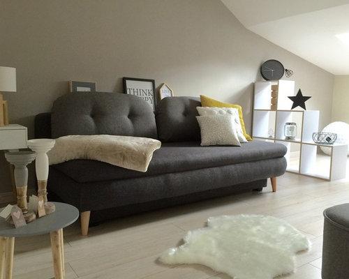 Chambre scandinave avec un mur jaune : Photos et idées déco de ...