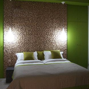 Modelo de dormitorio escandinavo con paredes verdes y suelo de piedra caliza