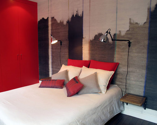 red bedroom design ideas renovations photos with painted wood