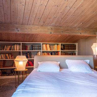 Cette photo montre une chambre avec moquette nature avec un mur gris et un sol gris.
