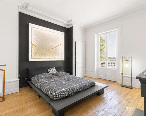 Ide De Dcoration Pour Une Chambre Adulte Tradition Avec Un Mur Noir Et Un  Sol En
