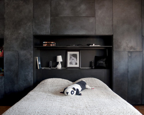 Mid sized modern bedroom design ideas remodels photos houzz for Photo de chambre adulte moderne