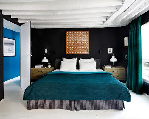 Chambre contemporaine plafond blanc poutre apparente for Chambre poutre apparente