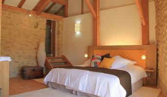 Grand lit et tête de lit sur mesur en chêne massif et tissus Noblis
