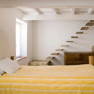 Cette image montre une chambre d'amis rustique de taille moyenne avec un mur blanc.