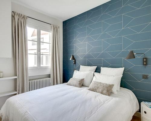 ide de dcoration pour une chambre damis nordique avec un mur bleu un
