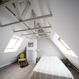 Design ideas for a mid-sized contemporary loft-style bedroom in Paris with beige walls and linoleum floors.