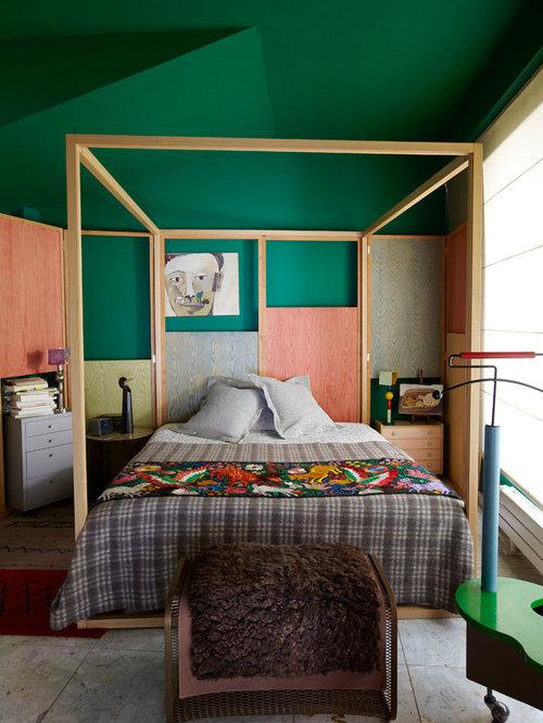Chambre avec aucune chemin e et un mur vert photos et - Chambre mur vert ...
