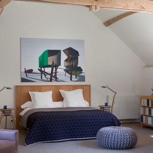 Aménagement d'une grande chambre mansardée ou avec mezzanine éclectique avec un mur blanc.