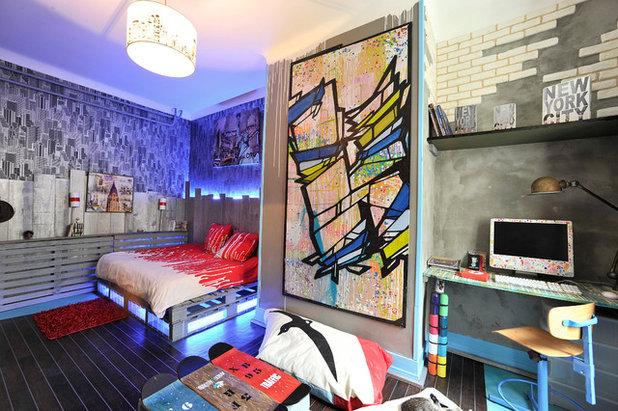 chambre d 39 ado de la semaine le street art s 39 exprime en int rieur. Black Bedroom Furniture Sets. Home Design Ideas