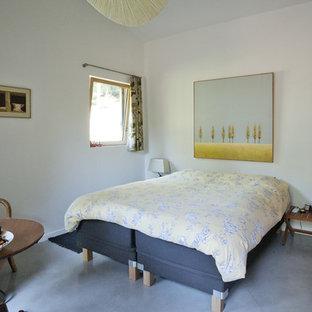 Idée de décoration pour une chambre d'amis design de taille moyenne avec un mur blanc.