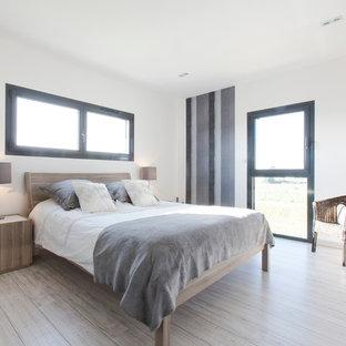 Cette photo montre une chambre d'amis scandinave de taille moyenne avec un mur blanc et un sol en bois clair.