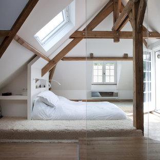 Modelo de dormitorio tipo loft, rústico, de tamaño medio, con paredes blancas y suelo de madera en tonos medios