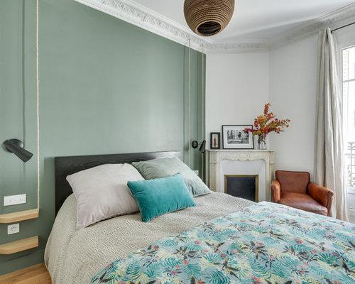 Chambre contemporaine avec un mur vert : Photos et idées déco de ...