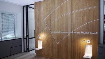 Réalisation tête de lit en collaboration avec Pascale CHARRIER