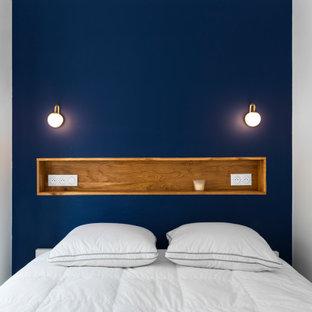 パリの北欧スタイルのおしゃれな寝室のレイアウト
