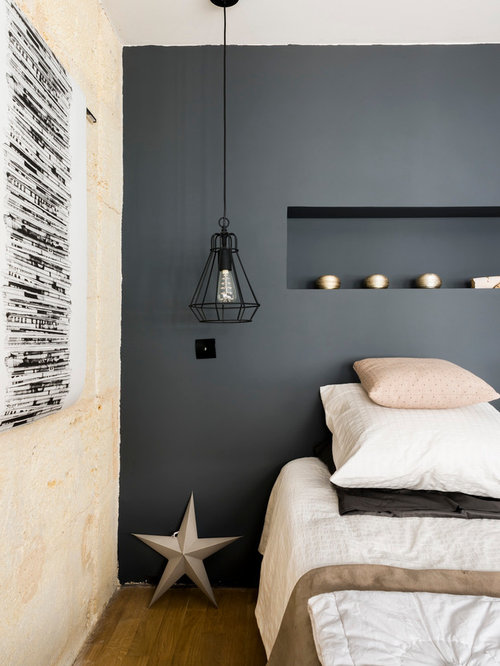 chambre scandinave avec un mur bleu photos et id es d co. Black Bedroom Furniture Sets. Home Design Ideas