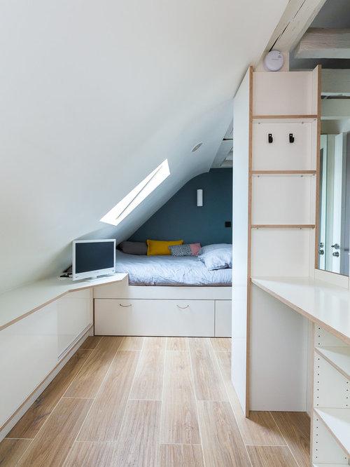 Chambre mansard e ou avec mezzanine contemporaine avec un - Chambres mansardees ...