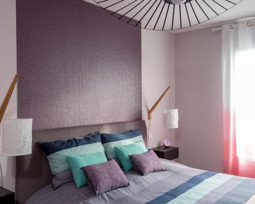 Parete Bordeaux Camera Da Letto : Camera da letto con pareti viola bordeaux foto e idee per arredare