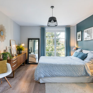 Inspiration For A 1950s Master Dark Wood Floor And Brown Bedroom Remodel In Lyon With