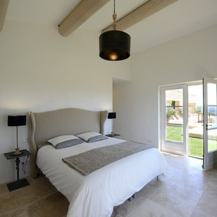 Example of a large transitional master terra-cotta floor and gray floor bedroom design in Lille with white walls and no fireplace