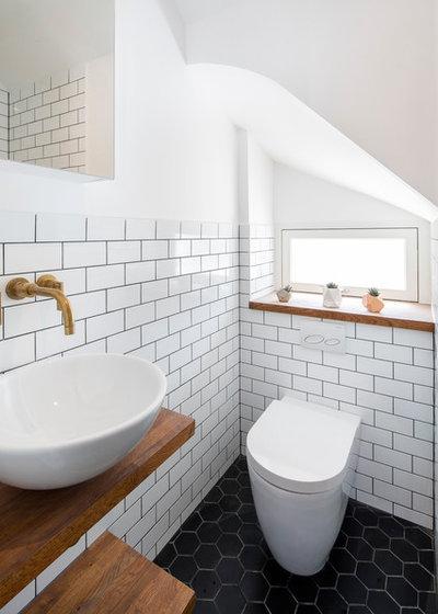 Scandinavian Powder Room by BLOCK Design & Build