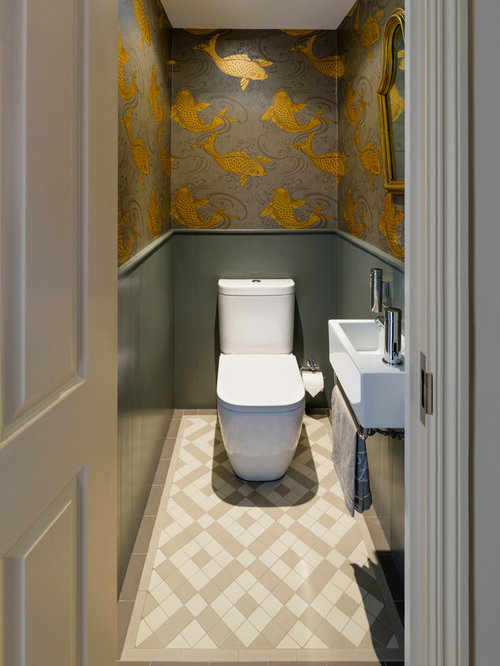 Brown cloakroom design ideas renovations photos for Small wc room design