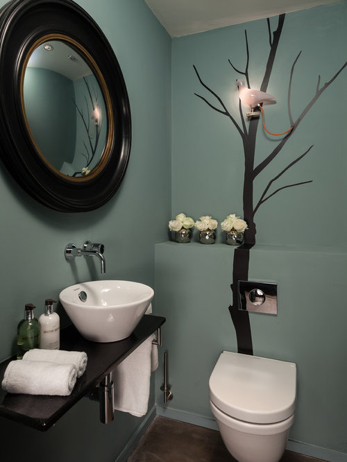 moderne g stetoilette g ste wc mit blauer wandfarbe ideen f r g stebad und g ste wc design. Black Bedroom Furniture Sets. Home Design Ideas