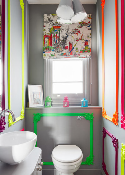 Eclectic Powder Room by NBB Design