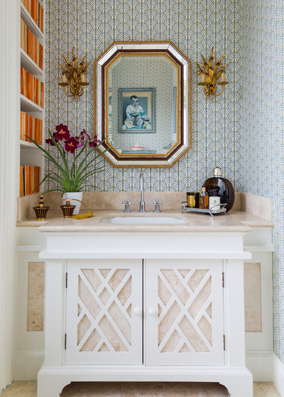Transitional Powder Room by A House to Love
